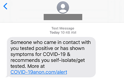 Covid-19 SMS Phishing Scam Example